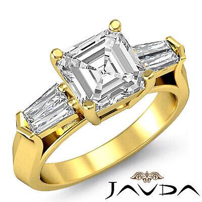 3 Stone Flashy Asscher Cut Diamond Engagement Ring GIA G SI1 Platinum 950 1.5 ct 3