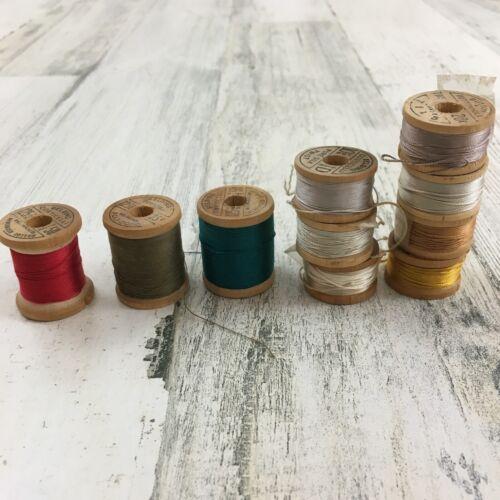 Lot 10 Vtg Belding Corticelli Thread Spools Pure Silk Twist Poly Bond Cotton