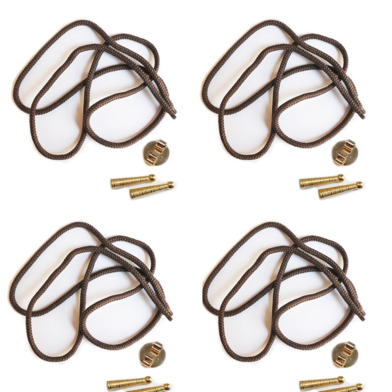 Blank Bolo Tie Parts Kit Round Slide Textured Tips Brown Cord Goldtone Pk/4