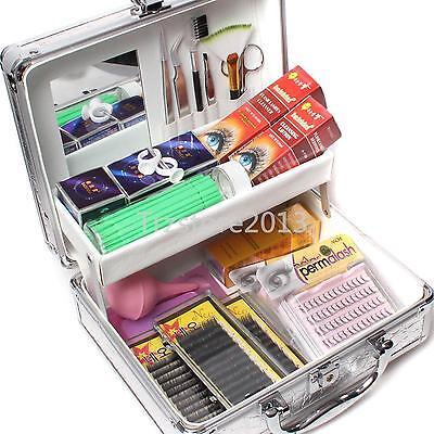 Mink False Lashes Individual Extension Eyelash Micro Brushes Glue Tools Case Set