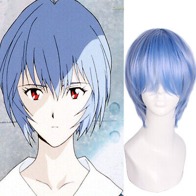 EVA Evangelion Ayanami Rei Light Blue Short Straight Hair Wigs Cosplay Full Wigs (Light Blue Wigs)