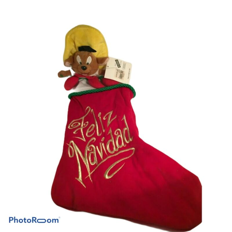 💚 SPEEDY GONZALES WARNER BROS CHRISTMAS STOCKING RED EUC D8
