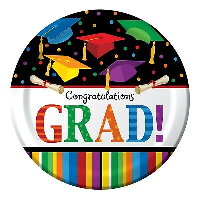 Graduation Dinner Plates Multi Color 8ct Decoration Favor Party Supplies](Graduation Plates)