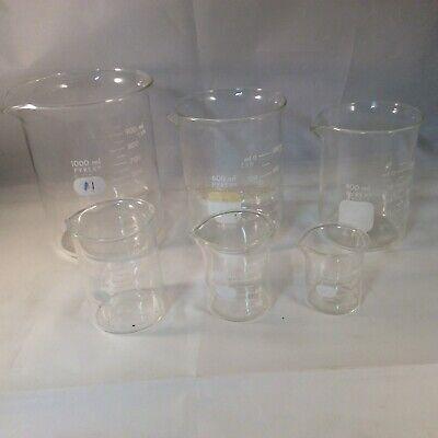 Pyrex No 1000 Beaker Measuring Set 6 Spout Lab Glass Scientific Vintage