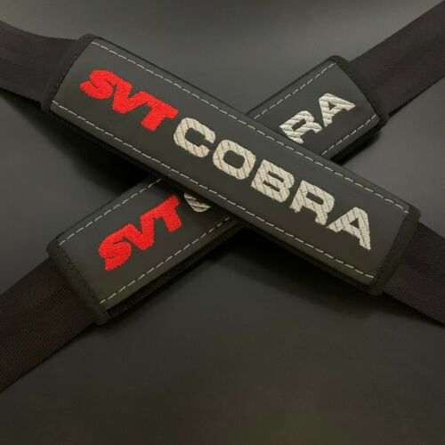 Black seat belt pads Covers with red & gray embroidery fits Cobra SVT 2pcs