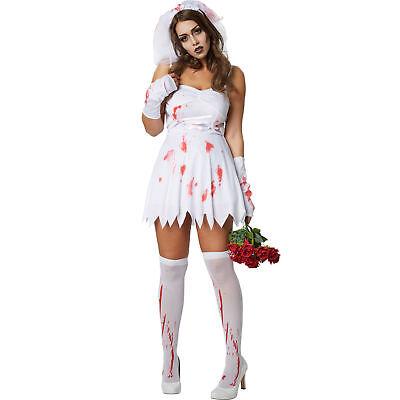 Kostüm Damen Zombie Geisterbraut sexy Fasching Karneval Halloween Horror (Zombie Kleid)