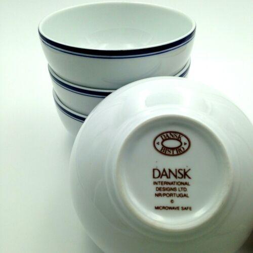 Set of 4 Dansk Bistro Christianshavn Blue Cereal Bowls 5 Inch Portugal EUC