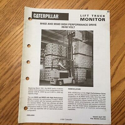 Cat Caterpillar M40d M50d Electric Fork Lift Truck Monitor Sales Brochure Manual
