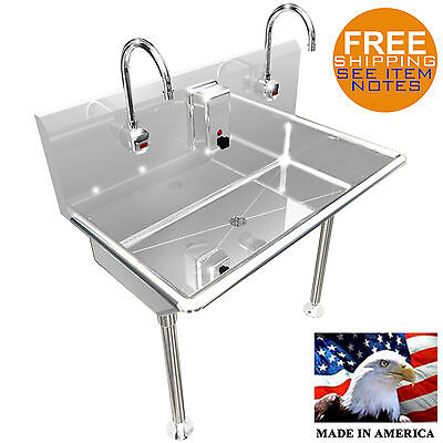 2 Station 36 Wash Up Sink Hands Free Heavy Duty Stainless Steel Electr. Faucet