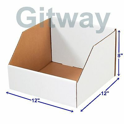 25 Pcs 12 X 12 X 8 Corrugated Cardboard Open Top Storage Parts Bin Bins Boxes