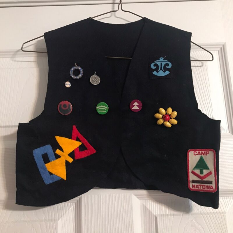 Vintage 1960s Handmade Campfire Girls Felt Vest-Beads Charms Patches- Navy Blue