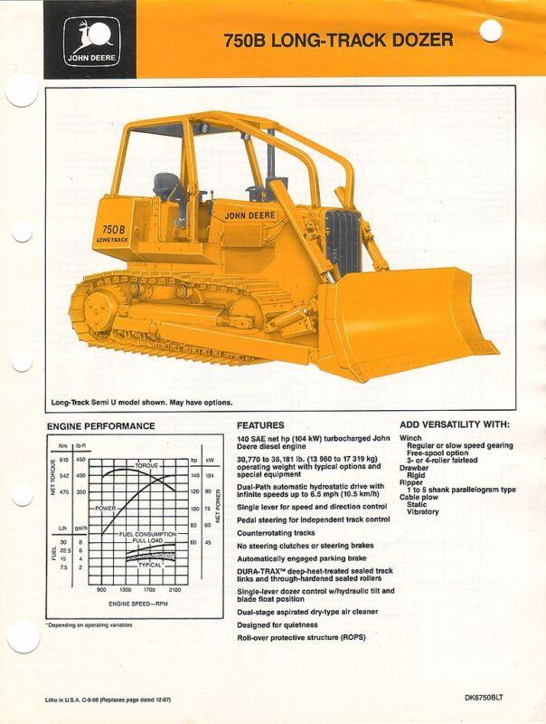 Equipment Brochure - John Deere - 750B - Long Track Bull Dozer - 1988 (EB411)