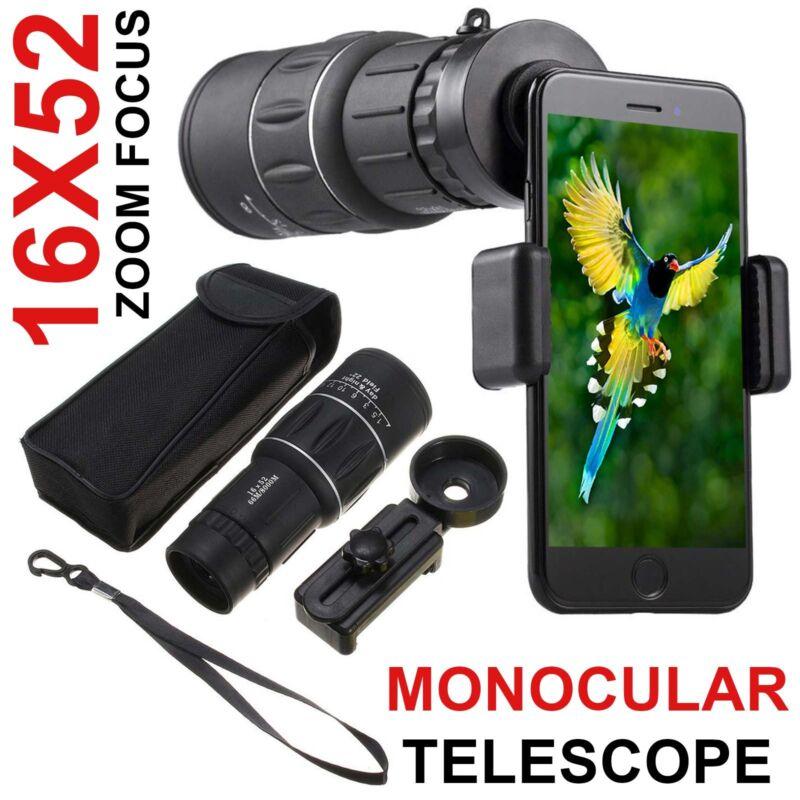 16X52 HD Optical Dual Focus Monocular Day/Night Vision Camping Hiking Telescope