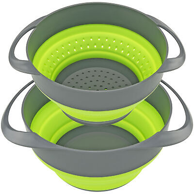 Collapsible Strainer Colander and Bowl Set for Easy Compact Storage Green Grey Colanders, Strainers & Sifters