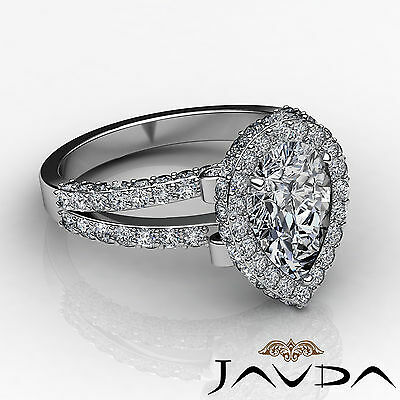 Bridge Accent Halo Pave Bezel Set Pear Diamond Engagement Ring GIA H SI1 2.52Ct 2