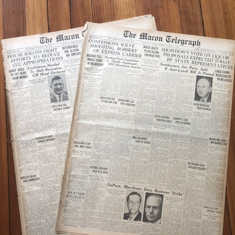 2 1938  newspapers DEMOCRATS FILIBUSTER  ANTI NEGR0 LYNCHING LAW Congress Passes