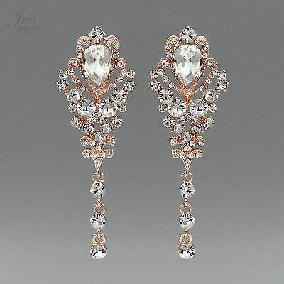 ROSE GOLD Plated Clear Crystal Rhinestone Wedding Drop Dangle Earrings 02110 New - Gold Clear Crystal