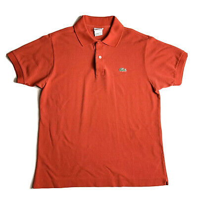 Lacoste Mens Polo Shirt Size 4 Small Red Short Sleeve Button Cotton Alligator