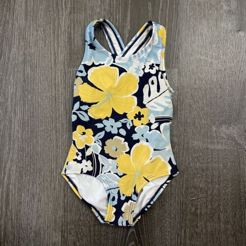 Hanna Andersson Girls Tank 1 Piece Bathing Suit Floral Multicolor Size 80 / 2