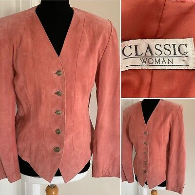 VNTG 80s 90s Pink Suede Leather Fitted Jacket Sze 10 Padded Shoulders Festival