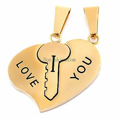Stainless Steel Couples Key To Heart Pendants  I Love You  Love Necklace 1 Pair