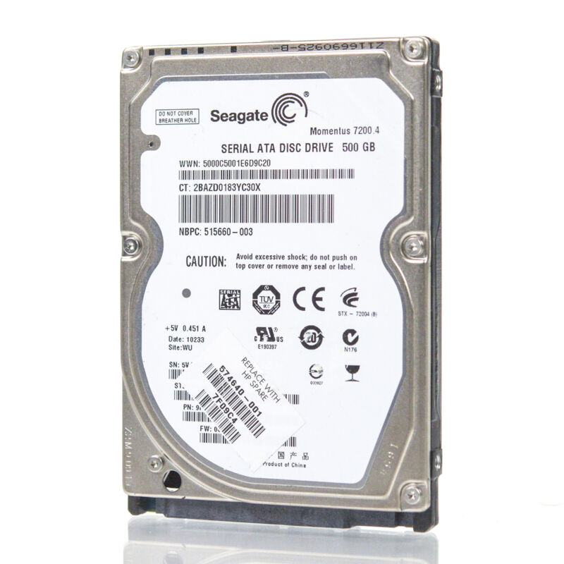 """Assorted Brands 2.5"""" 500GB SATA Laptop HDD Hard Drive - Tested & Wiped"""