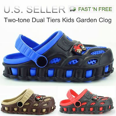 Garden Clogs Shoes For Boys Kids Toddler Slip-On Casual Two-tone Slipper Sandals - Toddler Slip