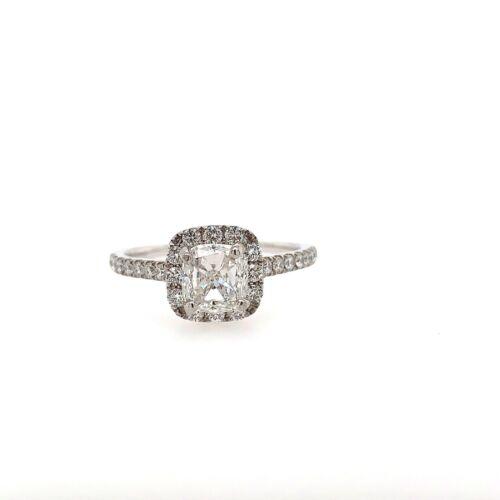 1.01 Carat Cushion Cut F - SI2 GIA Diamond Halo Engagement Ring 18k White Gold