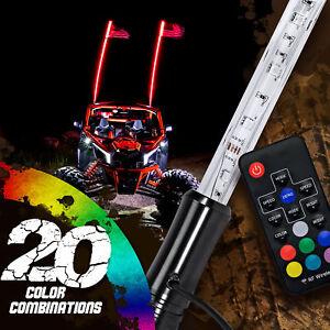 OLS 3ft Lighted Antenna LED Whip Light w/Flag for ATV Polaris RZR 4 Wheeler