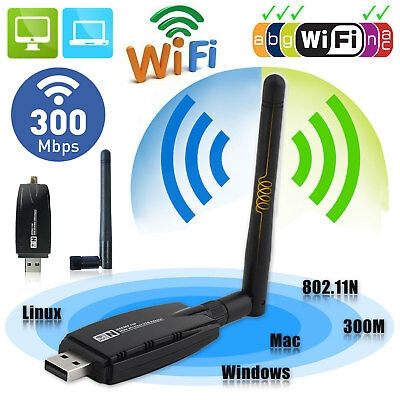 300Mbps Wireless USB WiFi Adapter Dongle Network LAN Card 802.11b/g/n w/ Antenna