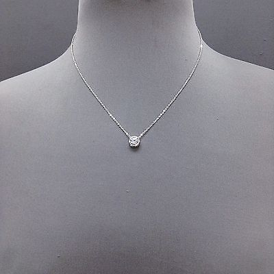 - Silver Dainty Chain Cubic Zirconia Clear Stone Pendant Necklace   ( N 3006 RCR )