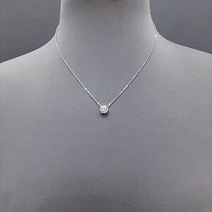 Silver Dainty Chain Cubic Zirconia Clear Stone Pendant Necklace   ( N 3006 RCR )