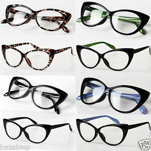 New-Womens-Clear-lens-Sexy-Cat-eye-Fashion-Glasses-Fancy-dress
