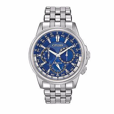 Citizen Eco-Drive Men's BU2021-51L Calendrier Dual Time Blue Dial 44mm Watch