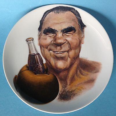Porzellan Platte Reklame Wandteller Boxer Max Schmeling Coca Cola Ø26cm Selb ~70
