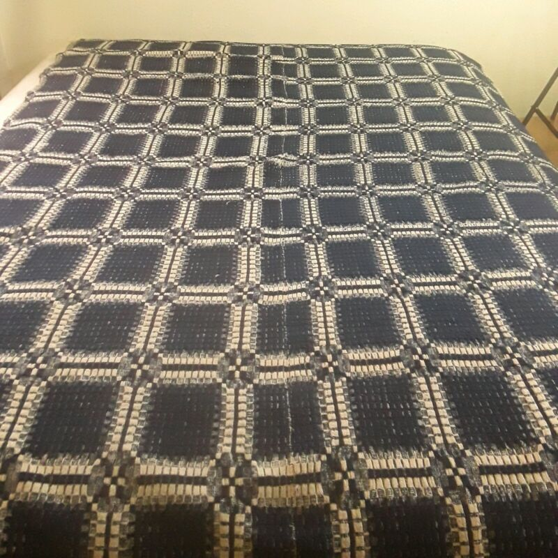 1800s Antique Vintage Jacquard Blue White Twin Woven Coverlet Blanket Squares