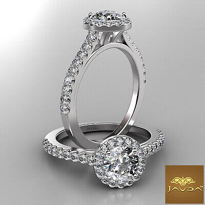 Brilliant Cut French Pave Halo Round Diamond Engagement Ring GIA F VVS2 1.21 Ct