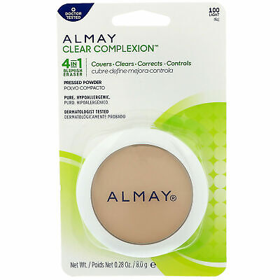 Almay Clear Complexion Blemish Eraser 4 in 1 Pressed Powder 100 LIGHT New Almay Clear Complexion Powder