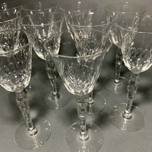 Set of 10 Antique Wheel Cut Sherry Port Cordial Stemware Crystal Glasses Etched