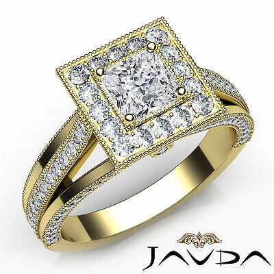 Milgrain Split Shank Halo Pave Princess Diamond Engagement Ring GIA E SI1 1.4 Ct