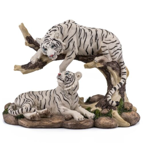"Pair of White Tigers Figurine Statue 9.25"" Long Detailed Resin New In Box!"