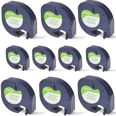 10pk Black On White Tape Label For Dymo Letra Tag Lablemaker Lt 91330 12mm 12