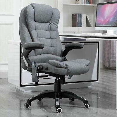 Massaging Reclinable Home Office Computer Desk Chair Upholstered Dark Grey