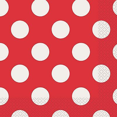 Ruby Red & White Polka Dot   Dots 33cm Paper Party Napkins   Serviettes 1-96pk - Red White Polka Dot Party Supplies