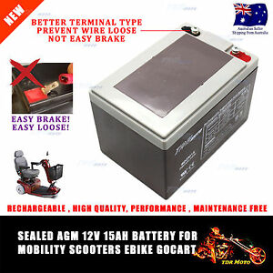 12V 15AH AGM DEEP CYCLE Battery SCOOTER GOLF CART BUGGY Disability Wheelchair