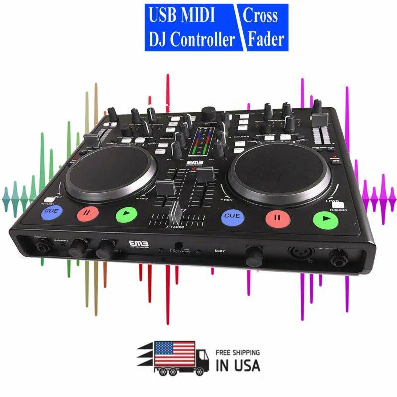 EMB DJX7 PRO DUAL USB MP3 Mixer DJ Scratch Midi Controller + Virtual DJ LE New