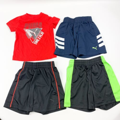 Boys Lot Of 4 Puma Shirt And Shorts 2t Red Black Navy Blue Pull On Elastic Waist