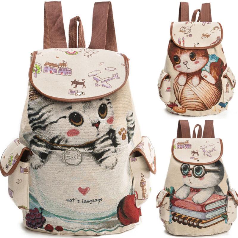 Women Girls Cute Unicorn Cat Shoulder Bag Travel School Canv