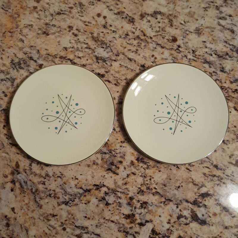 """2 Vintage Knowles Simplicity 6"""" Bread Appetizer Atomic Plates Silver Blue Dot"""