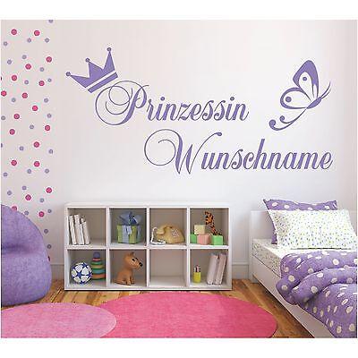 Wandtattoo Prinzessin  Krone Wunschname Wunschtext Sticker Wandaufkleber Name ()